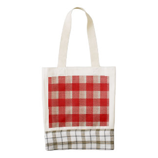 Red Gingham Checkered Pattern Burlap Look Zazzle HEART Tote Bag