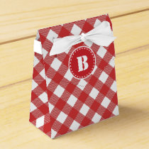 Red Gingham Checkered Pattern Favor Box