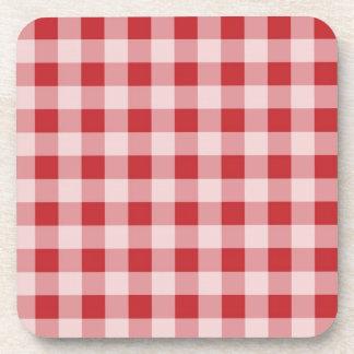 Red gingham checks pattern design beverage coasters