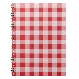 Red gingham checks pattern design notebook