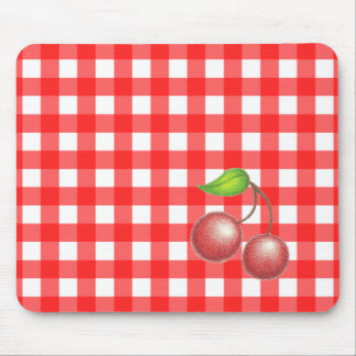 Red Gingham Cherry Mousepad