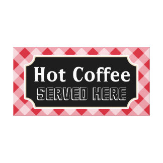 Red Gingham Coffee Sign Canvas