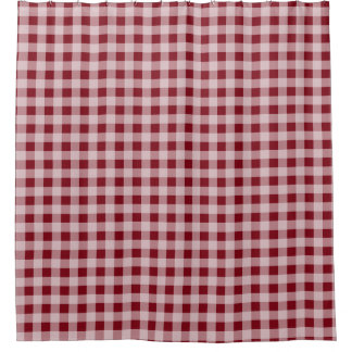 red gingham country rustic bathroom shower curtain
