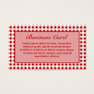 Red Gingham + Custom Color Business Card