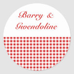 Red Gingham + Custom Color Classic Round Sticker