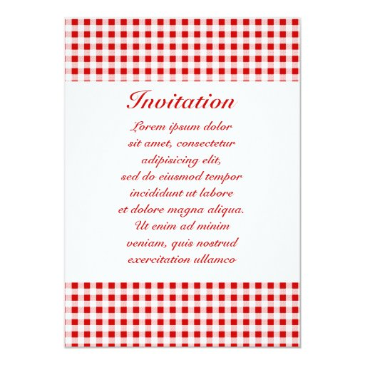 Red Gingham + Custom Color Personalized Invitation