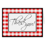 Red Gingham Custom Thank You Card