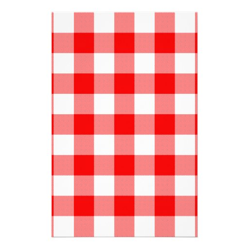 Red Gingham Customized Stationery