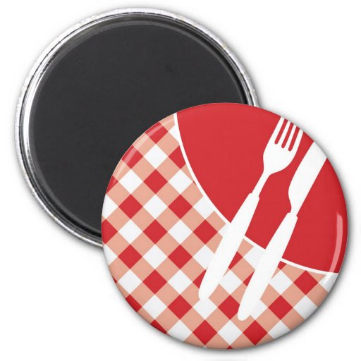 Red Gingham & Cutlery 2 Inch Round Magnet