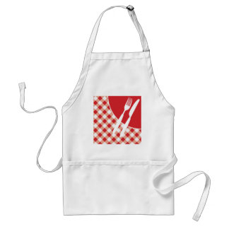 Red Gingham & Cutlery Adult Apron