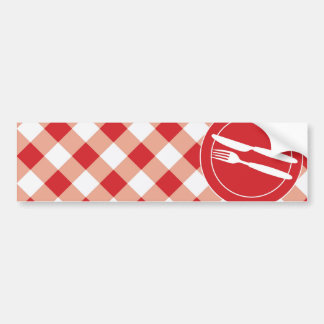 Red Gingham & Cutlery Bumper Sticker