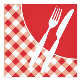 Red Gingham & Cutlery Card