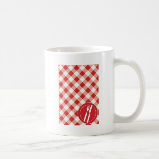 Red Gingham & Cutlery Classic White Coffee Mug