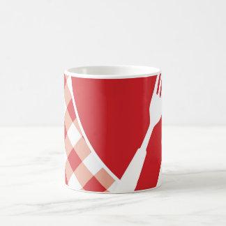 Red Gingham & Cutlery Coffee Mug