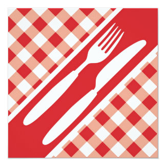 Red Gingham  & Cutlery Custom Announcements