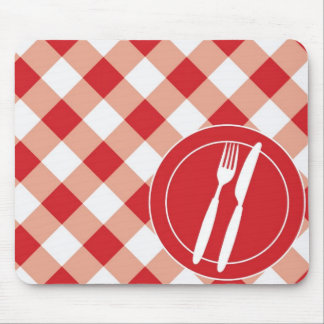 Red Gingham & Cutlery Mouse Pad