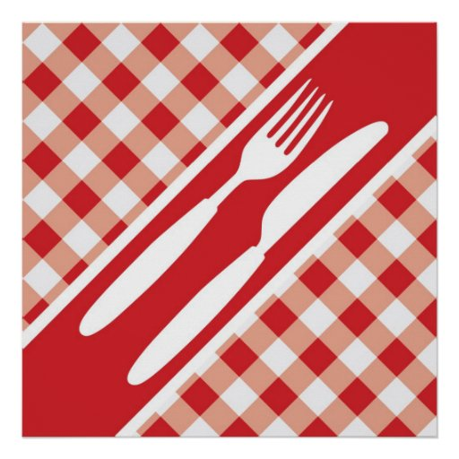 Red Gingham & Cutlery Poster