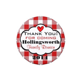 Red Gingham Family Reunion Favor Candy Tins