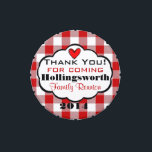 """Red Gingham Family Reunion Favor Jelly Belly Candy Tin<br><div class=""""desc"""">Cute idea for &quot;Family Reunion Favors&quot;. Red and white gingham, a red heart with &quot;Thank you for coming&quot;, the family name and year! Customize the text to suit your needs! Great for birthday parties and picnics too! To see more super cool products- Please visit my store &quot;The Hungarican Princess&quot; at...</div>"""