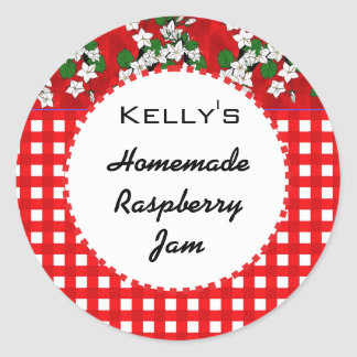 Red gingham floral raspberry jam label classic round sticker