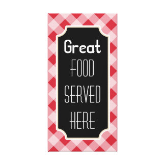 Red Gingham Great Food Sign Canvas