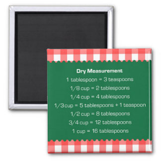 Red gingham green dry measure chart kitchen helper 2 inch square magnet