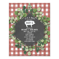 Red Gingham Greenery Baby Q Baby Shower Invitation