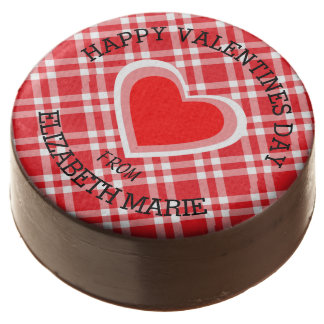 Red Gingham Happy Valentine's Day Chocolate Covered Oreo