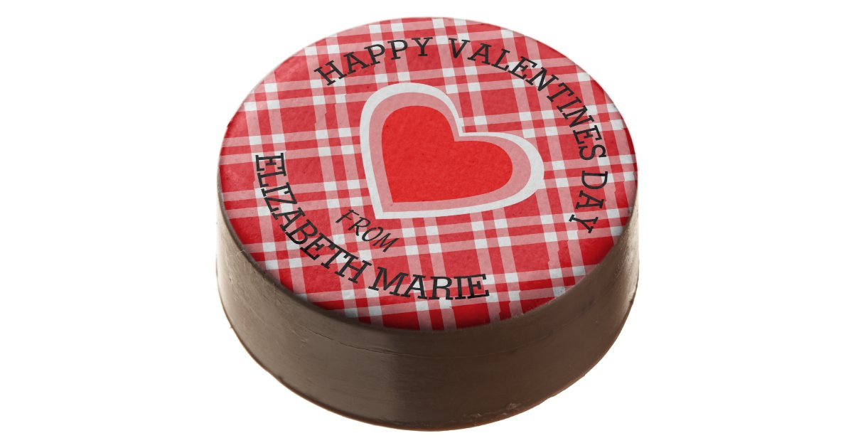 Red Gingham Happy Valentine\'s Day Chocolate Covered Oreo | Zazzle.com