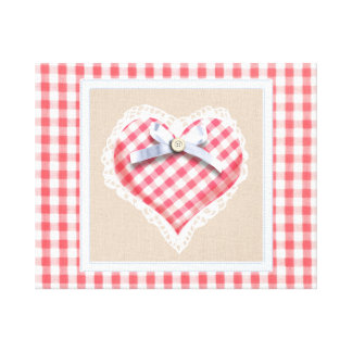 Red Gingham Heart with bow graphic Canvas Print