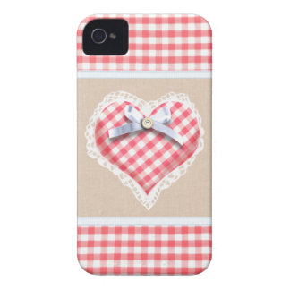 Red Gingham Heart with bow graphic Case-Mate iPhone 4 Cases