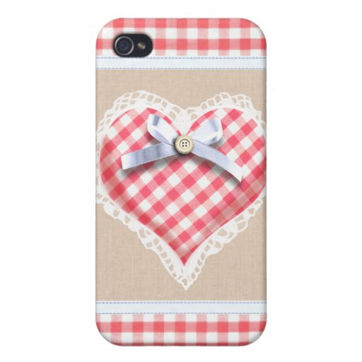 Red Gingham Heart with bow graphic iPhone 4/4S Cases