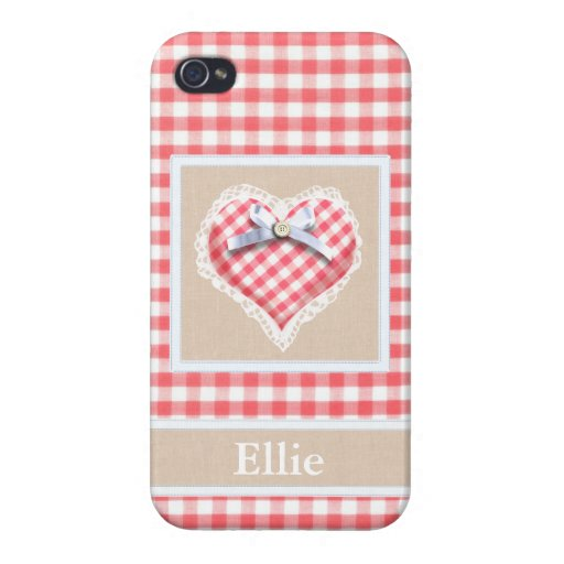 Red Gingham Heart with bow graphic iPhone 4/4S Covers