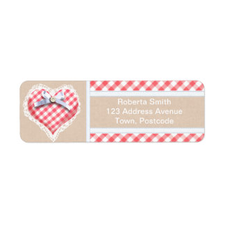 Red Gingham Heart with bow graphic Label