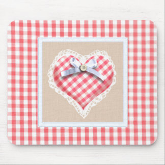 Red Gingham Heart with bow graphic Mouse Pad