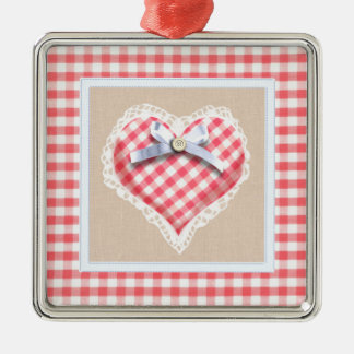 Red Gingham Heart with bow graphic Square Metal Christmas Ornament