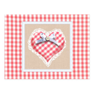 Red Gingham Heart with bow graphic Post Card