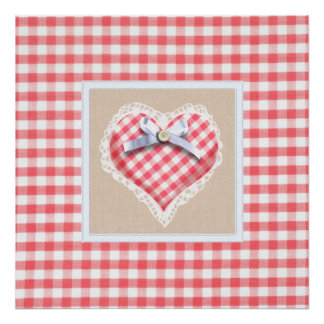 Red Gingham Heart with bow graphic Poster