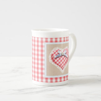 Red Gingham Heart with bow graphic Tea Cup