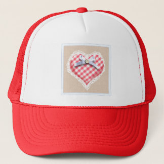 Red Gingham Heart with bow graphic Trucker Hat
