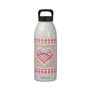 Red Gingham Heart with bow graphic Drinking Bottles