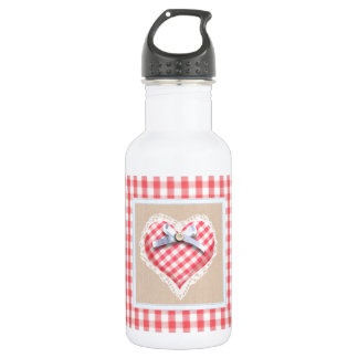 Red Gingham Heart with bow graphic Water Bottle