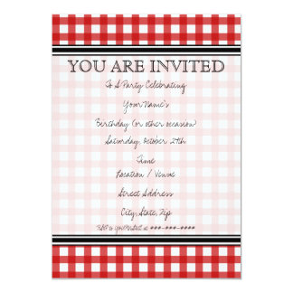 Red Gingham Invitation