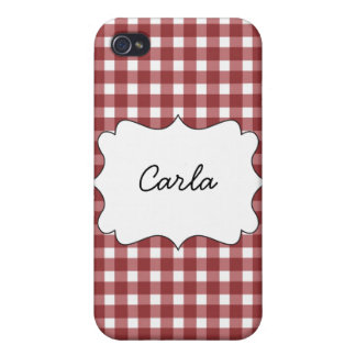 Red Gingham Cover For iPhone 4