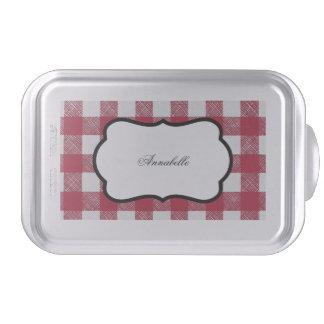 Red gingham kitchen pattern cake pan