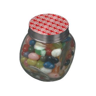 Red Gingham Knit Jelly Belly Glass Jar