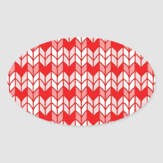 Red Gingham Knit Oval Stickers