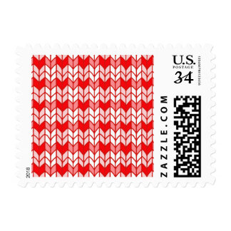 Red Gingham Knit Postcard Stamps