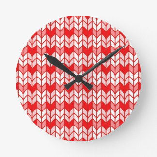 Red Gingham Knit Round Wall Clock
