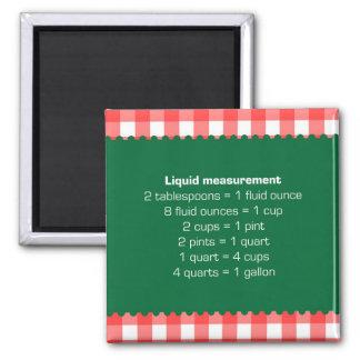 Red gingham liquid measure chart kitchen helper magnet